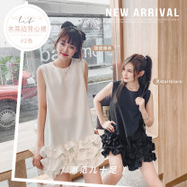 Dress Summer 2020 White, black S,M,L,XL,2XL Short skirt singleton  Sleeveless commute Crew neck High waist Solid color Socket Ruffle Skirt other 18-24 years old Type A Zuai Korean version 51% (inclusive) - 70% (inclusive) other
