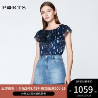 shirt CREAM PRINT,NAVY PRINT 2,4,6,8,10,12 Spring of 2019 silk 91% (inclusive) - 95% (inclusive) Short sleeve Sweet Regular One word collar routine other 25-29 years old Ports SN8B013HPT007 Ruili