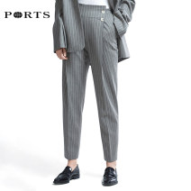 Casual pants GREY STRIPE 34,36,38,40,42,44 Summer of 2019 trousers Pencil pants High waist Versatile routine 25-29 years old RA9P004GFW002 Ports