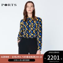 shirt NAVY PRINT 2,4,6,8,10,12 Spring of 2019 silk 96% and above Long sleeves commute Regular other Single row multi button routine Broken flowers 25-29 years old Self cultivation Ports Ol style LN8B084HPS076