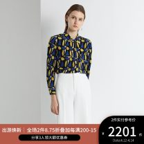 shirt NAVY PRINT 2,4,6,8,10,12 Spring 2020 silk 96% and above Long sleeves Versatile Regular Polo collar Single row multi button shirt sleeve other 30-34 years old Straight cylinder Ports LN8B084HPS041