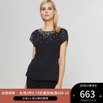 shirt BLACK 2,4,6,8,10,12 Summer 2020 polyester fiber 96% and above Short sleeve commute Regular Crew neck zipper routine Solid color 25-29 years old Straight cylinder Ports Ol style Nail bead