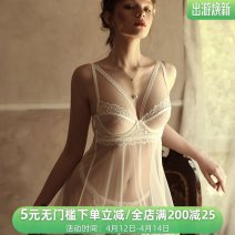 Pajamas / housewear set female Lass Lures Average size White, black Polyester (polyester) sexy V-neck 2 pieces More than 95% Hollowing out UltraShort