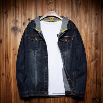 Jacket All over the world other navy blue routine Self cultivation Other leisure autumn Long sleeves Wear out Hood Basic public Large size routine Single breasted 2018 Straight hem Closing sleeve Solid color Denim Button decoration Side seam pocket cotton