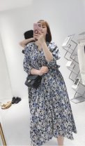 Dress Spring 2021 Black and white, blue Average size 81% (inclusive) - 90% (inclusive) other