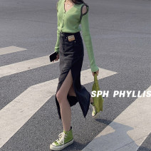 skirt Spring 2021 S,M,L black longuette commute 18-24 years old Superior conduct Korean version