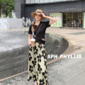 Fashion suit Summer 2021 M,L,XL Black T-shirt + skirt 18-25 years old Superior conduct AM5696