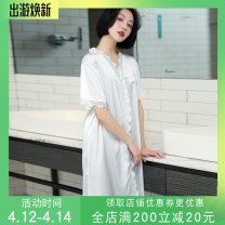 Nightdress Other / other white M (recommended 85-120 kg), l (recommended 120-140 kg) sexy Short sleeve pajamas Middle-skirt summer Solid color youth V-neck Polyester (polyester) Hollowing out More than 95% Iced silk S156 220g