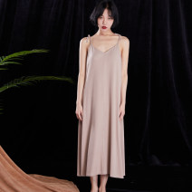 Nightdress Shengfen Black, coffee, leather powder Suitable for 85-135 kg sexy camisole pajamas longuette summer Solid color youth More than 95% Modal fabric 200g