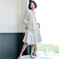 Nightdress Shengfen Brown, white 165(L),160(M) sexy Middle sleeve Leisure home longuette autumn stripe youth V-neck cotton Lotus leaf edge More than 95% Knitted cotton fabric 220g