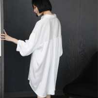 Nightdress Other / other white Size M (85-110kg - suitable for 155-165cm), size L (105-135kg - suitable for 160-172cm) sexy three quarter sleeve pajamas Middle-skirt summer Solid color youth Shirt collar One piece More than 95% Iced silk C085 200g