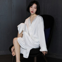 Nightdress Shengfen white Average size sexy Long sleeves pajamas Middle-skirt spring Solid color youth V-neck Iced silk lace More than 95% 220g