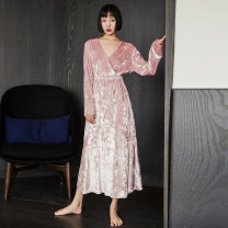 Nightdress Other / other Pink 160(M),165(L) sexy Long sleeves Leisure home longuette autumn Solid color youth V-neck Polyester (polyester) bow More than 95% Velvet C053 240g