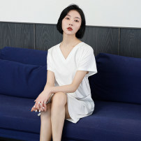 Nightdress Shengfen White, water blue M (80-105 kg recommended), l (105-125 kg recommended), XL (120-140 kg recommended) Simplicity Short sleeve pajamas Middle-skirt summer Solid color youth V-neck cotton One piece More than 95% Ice porcelain cotton 10109A 220g