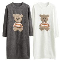 Nightdress Other / other Grey bear nightdress, white bear nightdress, grey bear pullover, white bear pullover, grey bear cardigan, white bear cardigan One size fits all Cartoon Long sleeves Leisure home longuette winter Cartoon animation youth Crew neck Polyester (polyester) Embroidery More than 95%
