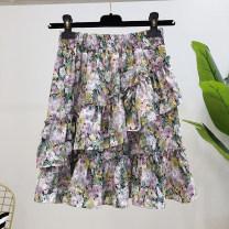 skirt Summer 2021 S,M,L Short skirt commute High waist Ruffle Skirt Decor Type A 25-29 years old More than 95% Lotus leaf edge Korean version