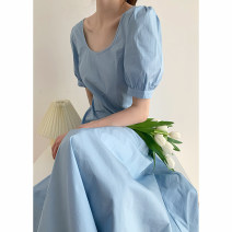 Dress Summer 2020 Pure blue, light pink orange S code, M code Mid length dress singleton  commute Solid color Other / other Simplicity