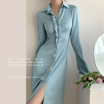 Dress Summer 2020 Sky blue shirt dress S is scheduled for 7 working days, M is scheduled for 7 working days singleton  Long sleeves commute Other / other Simplicity