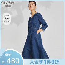Dress Spring 2021 XS S M L XL Mid length dress singleton  Long sleeves Sweet V-neck middle-waisted Solid color Socket other other 25-29 years old Type A Gloria / golia Button 71% (inclusive) - 80% (inclusive) cotton Cotton 74.9% polyester 25.1% Ruili