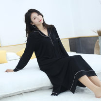 Nightdress Other / other Grey, black, Burgundy, navy M is recommended to weigh between 90 and 130, l is recommended to weigh between 130 and 150, XL is recommended to weigh between 150 and 180 Jin, 2XL is recommended to weigh between 180 and 230 Jin sexy Long sleeves pajamas longuette winter viscose