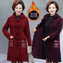 Middle aged and old women's wear Winter of 2019 XL,XXL,XXXL,4XL,5XL ethnic style overcoat easy singleton  Broken flowers 40-49 years old Cardigan moderate Hood Medium length routine Other / other Button corduroy 96% and above Single breasted