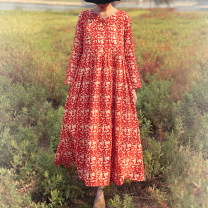 Dress Spring 2020 red autumnal leaves M, L longuette singleton  Long sleeves commute V-neck middle-waisted Decor Socket Pleated skirt routine Others 30-34 years old Type A Silk color literature 51% (inclusive) - 70% (inclusive) hemp