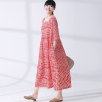 Dress Summer 2020 Red, Vitex negundo Average size Mid length dress singleton  elbow sleeve commute middle-waisted lattice Socket Pleated skirt routine Others Type A Silk color Ol style More than 95% cotton