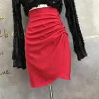 skirt Autumn 2020 S,M,L White, black, yellow, light blue, garnet red Short skirt Versatile High waist skirt Solid color Type O 25-29 years old A51-825 pleated split skirt 51% (inclusive) - 70% (inclusive) Crepe de Chine cotton Fold, asymmetry, zipper