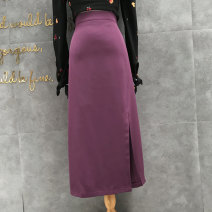 skirt Summer 2021 S,M,L Black, apricot, dark purple, blue Mid length dress Versatile High waist A-line skirt Solid color Type A 25-29 years old 1903-a split skirt 81% (inclusive) - 90% (inclusive) other other Zipper, stitching