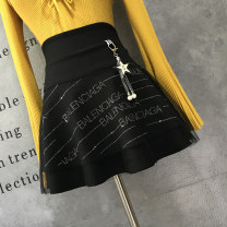 skirt Autumn of 2019 S,M,L,XL black Short skirt Versatile Natural waist A-line skirt letter Type A 30-34 years old 91% (inclusive) - 95% (inclusive) other cotton