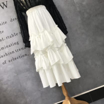 skirt Summer 2021 Elastic waist (1'8-2'2) Dark blue, lotus leaf skirt: black, lotus leaf skirt: white longuette gorgeous High waist Cake skirt Solid color Type A 18-24 years old Xz19-325-88 lotus leaf Tower Skirt 31% (inclusive) - 50% (inclusive) other cotton Fold, Ruffle