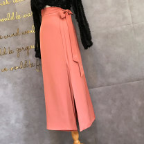 skirt Spring 2021 S,M,L Black, pink Mid length dress Versatile High waist Pencil skirt Solid color Type A 25-29 years old A72-2018 one piece wrap skirt 31% (inclusive) - 50% (inclusive) other other Strap, button