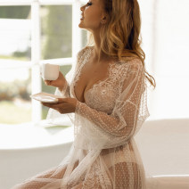 Nightdress Other / other white sexy Long sleeves Leisure home longuette autumn Solid color youth V-neck Polyester (polyester) Hollowing out 81% (inclusive) - 95% (inclusive) Lace fabric 200g and below