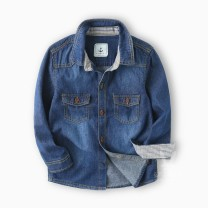shirt Denim shirt Other / other male 110 cm, 120 cm, 130 cm, 140 cm, 150 cm and 160 cm for hangtag 110, 120 cm, 130 cm, 140 cm, 150 cm and 160 cm respectively spring and autumn Long sleeves leisure time Solid color Pure cotton (100% cotton content) Lapel and pointed collar Cotton 100% Class B