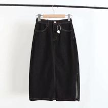 skirt Spring 2021 S,M,L,XL Black, blue longuette commute High waist A-line skirt Solid color Type A 51% (inclusive) - 70% (inclusive) Denim other pocket