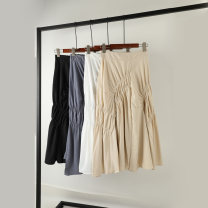skirt Summer of 2019 Average size White, black, apricot, grey blue, mint green Mid length dress commute High waist A-line skirt Solid color Type A 25-29 years old P288 Korean version