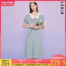 Dress Summer 2020 Baby blue (in stock) L,S,M Short skirt singleton  three quarter sleeve Sweet V-neck High waist zipper 18-24 years old Leting CWFAA2834 More than 95% cotton solar system