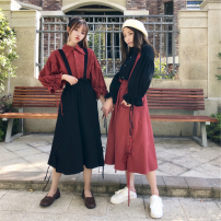 Women's large Spring 2021, summer 2021, autumn 2021 Dress Two piece set Sweet easy moderate Cardigan Long sleeves Solid color Polo collar routine Cotton, hemp Three dimensional cutting Lotus leaf sleeve 18-24 years old pocket 81% (inclusive) - 90% (inclusive) Middle-skirt bow college