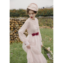 Dress Spring 2021 Pink S,M,L longuette singleton  Long sleeves Sweet Crew neck High waist Solid color Socket A-line skirt puff sleeve Type A To my love Lace 31% (inclusive) - 50% (inclusive) organza  polyester fiber princess