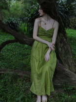 Dress Summer of 2019 green S,M,L Mid length dress singleton  Sleeveless commute square neck High waist Solid color zipper Big swing routine camisole 25-29 years old Type A To my love Retro 71% (inclusive) - 80% (inclusive) other hemp