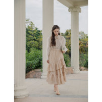 skirt Spring 2021 Average size Apricot Beige longuette Retro High waist Irregular Solid color Type A More than 95% To my love cotton Ruffles, waves