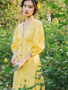 Dress Summer 2020 yellow S,M,L Mid length dress singleton  three quarter sleeve commute V-neck High waist Solid color Single breasted Big swing routine Others 25-29 years old Type A To my love Retro 71% (inclusive) - 80% (inclusive) cotton