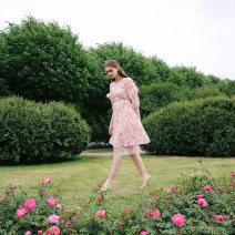 Dress Summer of 2018 Pink S,M,L Mid length dress singleton  Short sleeve commute Crew neck High waist Decor zipper A-line skirt 25-29 years old Type A To my love Retro More than 95% Chiffon