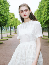 Dress Summer of 2018 White, 110 length S,M,L longuette singleton  Short sleeve commute Crew neck High waist Solid color zipper A-line skirt 25-29 years old Type A To my love Retro More than 95% cotton