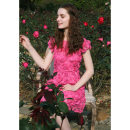 Dress Spring of 2018 Rose red, in stock S,M,L Mid length dress singleton  Short sleeve commute High waist Broken flowers zipper A-line skirt 25-29 years old Type A To my love Retro Hollow, lace More than 95% polyester fiber