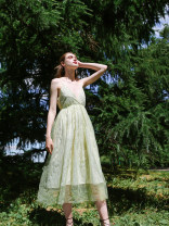 Dress Summer of 2018 Light green S,M,L Mid length dress singleton  Sleeveless commute V-neck High waist Broken flowers Big swing camisole 25-29 years old Type A To my love Retro 81% (inclusive) - 90% (inclusive) Chiffon polyester fiber