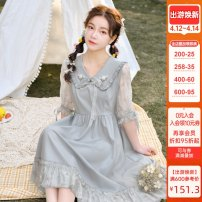 Dress Summer 2021 green S,M,L Mid length dress singleton  elbow sleeve Sweet Admiral High waist other Socket other other Others 18-24 years old Type A Sennu tribe Bowknot, embroidery, fold, Auricularia auricula, lace, splicing, three-dimensional decoration, mesh X1400 More than 95% other Mori