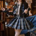 skirt Autumn 2020 XS,S,M,L,XL Short skirt Versatile High waist A-line skirt lattice Type A 18-24 years old JK082 More than 95% other Sennu tribe polyester fiber Fold, pocket, zipper, stitching
