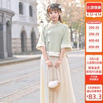 Fashion suit Spring 2021 S,M,L Green, apricot 18-25 years old Sennu tribe Y1786a2 51% (inclusive) - 70% (inclusive) cotton