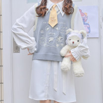 Dress Spring 2021 White, blue S,M,L Mid length dress Two piece set Long sleeves Sweet Admiral Loose waist Cartoon animation Single breasted A-line skirt Princess sleeve Others 18-24 years old Type H Sennu tribe Embroidery, fold, lace up, stitching, three-dimensional decoration, buttons, printing Mori